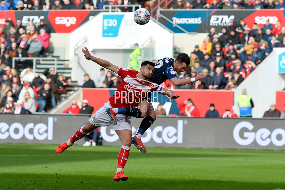 Jack Harrison (22) of Leeds United is denied a shot at goal by Bailey Wright (5) of Bristol City during the EFL Sky Bet Championship match between Bristol City and Leeds United at Ashton Gate, Bristol, England on 9 March 2019.