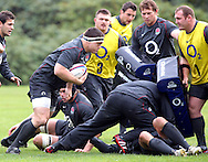 © Andrew Fosker / Seconds Left Images 2010 -  Andrew Sheridan carries the ball  as the forwards practise some moves  -  England Rugby Training - Pennyhill Park Hotel - 02/11/10 - Bagshot - UK - All Rights Reserved