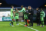 Forest Green Rovers Shamir Mullings(14) replaces Forest Green Rovers Christian Doidge(9) during the EFL Cup match between Forest Green Rovers and Milton Keynes Dons at the New Lawn, Forest Green, United Kingdom on 8 August 2017. Photo by Shane Healey.