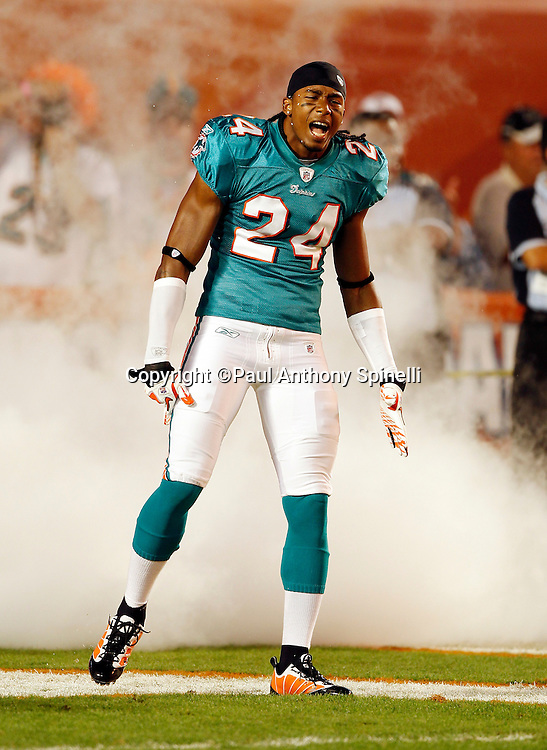 Miami Dolphins cornerback Sean Smith (24) yells and gets fired up as he enters the field in a cloud of smoke during pregame player introductions at the NFL week 11 football game against the Chicago Bears on Thursday, November 18, 2010 in Miami Gardens, Florida. The Bears won the game 16-0. (©Paul Anthony Spinelli)