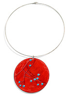hand painted red and blue round pendant on a choker necklace