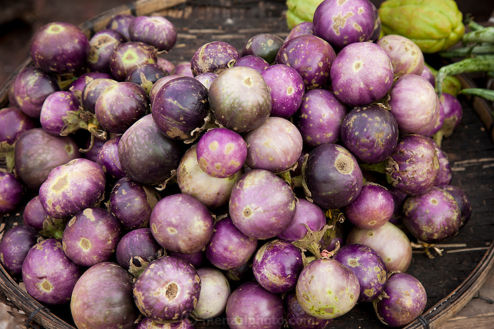 Luang Prabang, Laos. Morning food market. Eggplant.