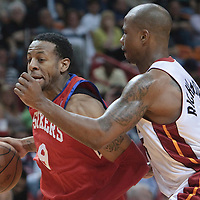14 March 2010: Philadelphia 76ers guard Andre Iguodala drives past Miami Heat Quentin Richardson during the Miami Heat 100-89 victory over the Philadelphia 76ers at the AmericanAirlines  Arena, in Miami, Florida, USA.