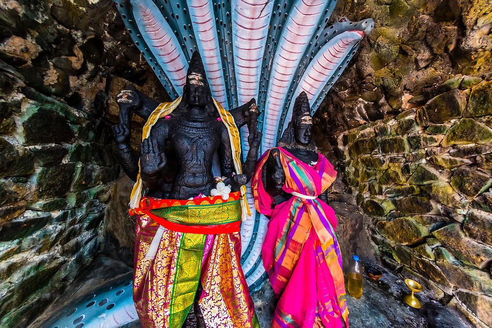 Two sacred statues of Lord Vishnu and Luxmi. Koneswaram temple is a classical-medieval Hindu temple dedicated to Lord Shiva in Trincomalee, Eastern Sri Lanka.