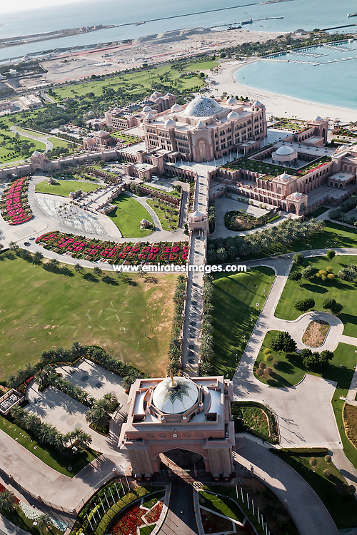 Abu Dhabi aerial shot of Emirates Palace hotel