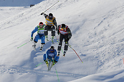 07.03.2014, Carmenna Extrempark, Arosa, SUI, FIS Weltcup Ski Cross, Arosa, im Bild Die Semi-Finallisten Patrick Koller (AUT, B) Andreas Matt (AUT, G) Brady Leman (CAN, Y) David Duncan (CAN, R) beim Zielsprung // during the FIS Ski Cross World Cup Carmenna Extrempark in Arosa, Switzerland on 2014/03/07. EXPA Pictures © 2014, PhotoCredit: EXPA/ Freshfocus/ Claudia Minder<br /> <br /> *****ATTENTION - for AUT, SLO, CRO, SRB, BIH, MAZ only*****