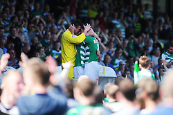 Yeovil Town's Marek Stech, Jamie McAllister and Joe Edwards celebrates - Photo mandatory by-line: Dougie Allward/JMP - Tel: Mobile: 07966 386802 06/05/2013 - SPORT - FOOTBALL - Huish Park - Yeovil - Yeovil Town V Sheffield United - NPOWER LEAGUE ONE PLAY-OFF SEMI-FINAL SECOND LEG