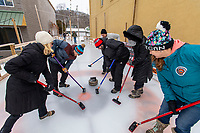 Outdoor curling at Stormcloud Brewing in Frankfort, Michigan.