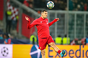 Liverpool defender Dejan Lovren (6) warms up during the Champions League match between FC Red Bull Salzburg and Liverpool at the Red Bull Arena, Salzburg, Austria on 10 December 2019.
