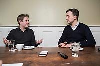 19 MAR 2018, BERLIN/GERMANY:<br /> Kevin Kuehnert (L), SPD, Bundesvorsitzender der Jusos, und Paul Ziemiak (R), MdB, CDU, Bundesvorsitzender der Jungen Union, waehrend einem gemeinsamen Interview, Restaurant Habel am Reichstag<br /> IMAGE: 20180319-01-011<br /> KEYWORDS: Kevin K&uuml;hnert