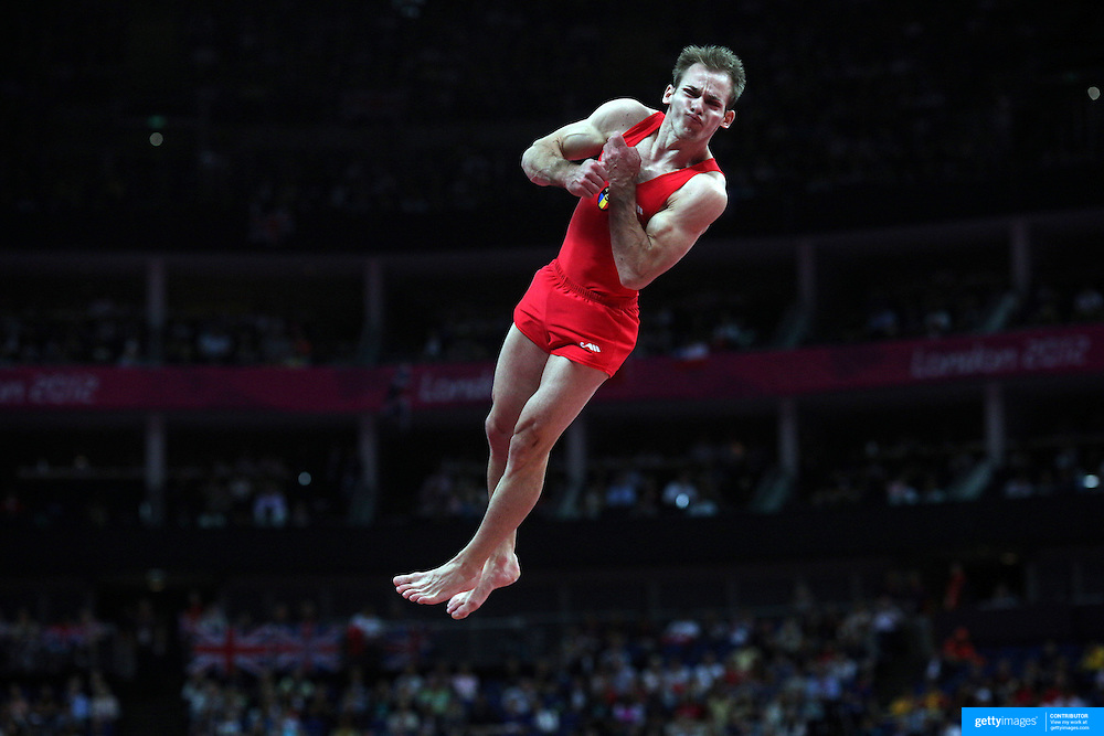Flavius Koczi, Romania, in action in the Gymnastics Artistic, Men's Apparatus, Vault Final at the London 2012 Olympic games. London, UK. 6th August 2012. Photo Tim Clayton