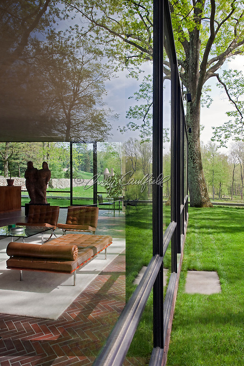 The Glass House residence of Philip Johnson-architect, furnishings by Mies van der Rohe, New Canaan, CT