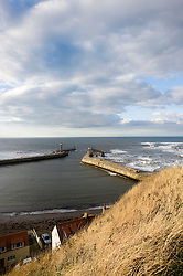 Whitby outer Harbor from St Mary Church North Yorkshire.September 2010 .Images © Paul David Drabble