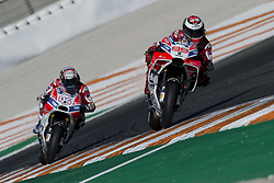 November 12, 2017 - Valencia, Valencia, Spain - 4 Andrea Dovizioso (Italian) Ducati Team Ducati, #99 Jorge Lorenzo (Spanish) Ducati Team Ducati during the race day of the Gran Premio Motul de la Comunitat Valenciana, Circuit of Ricardo Tormo,Valencia, Spain. Sunday 12th of november 2017. (Credit Image: © Jose Breton/NurPhoto via ZUMA Press)
