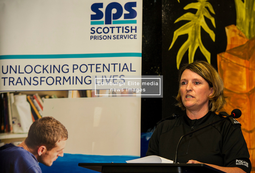 Pictured: PC  Tracey Gunn, Prison Link Officer Police Scotland<br /> A new booklet was created by a group of prisoners after a Meet the Police event revealed many prisoners' children thought the police had taken their parent from them. The leaflet was launched by Mark McDonald, MSP, Minister for Childcare and Early Years at Saughton Prison, Edinburgh. The minister was joined by Scottish Prison Service chief executive Colin McConnell, PC  Tracey Gunn, Prison Link Officer Police Scotland, Nicola Ceesay, HMP Edinburgh Visitot Centre  Richard Thomas, Superintendent Police Scotland and other senior police officers<br /> <br /> <br /> Ger Harley | EEm 22 August 2016