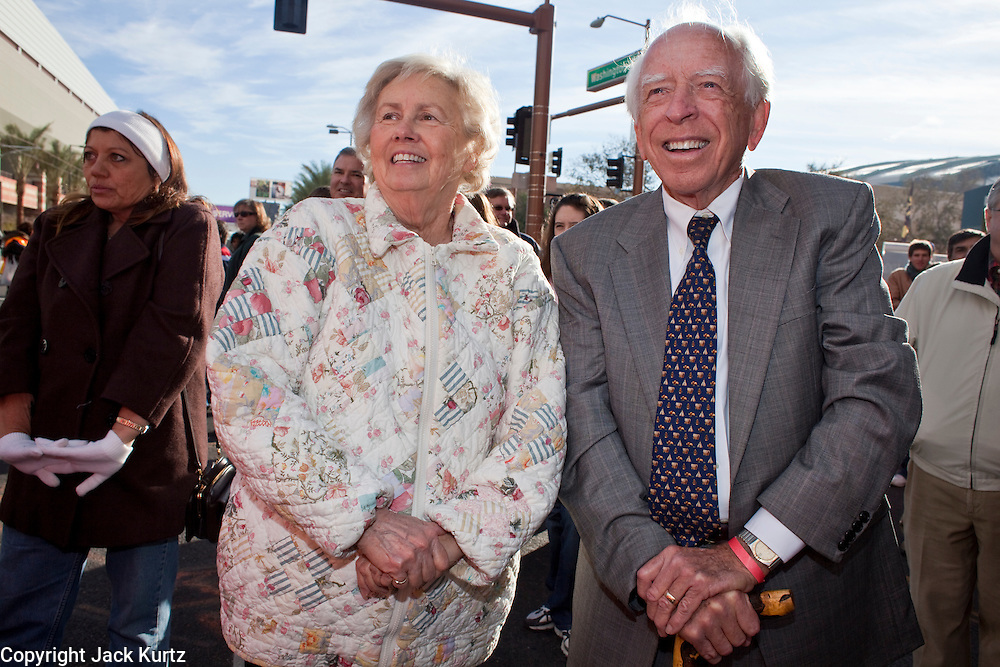 27 DECEMBER 2008 -- PHOENIX, AZ: At 9:45AM Former Phoenix mayor John Driggs (CQ RIGHT) and his wife, Gail, were among the folks at the opening of the downtown Phoenix (Washington and 3rd Street) station.  Metro Light Rail started running Saturday, Dec. 28.  ARIZONA REPUBLIC PHOTO BY JACK KURTZ Metro Light Rail started running Saturday, Dec. 28. The light rail line is 20 miles long and cost $1.4 billion dollars. PHOTO BY JACK KURTZ