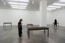 © Licensed to London News Pictures. 27/09/2018. London, UK. Art sculptures titled Tabula Rasa (2018) by artist Doris Salcedo. The work is showing at the White Cube Gallery. Photo credit: Ray Tang/LNP
