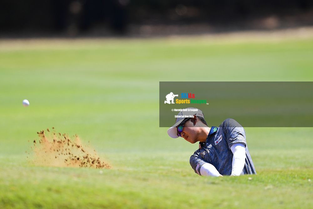 PERTH, AUSTRALIA - FEBRUARY 16: Jazz Janewattananond (THA) out of the bunker on the 1st green during the 3rd round of the ISPS Handa World Super 6, Lake Karrinyup Country Club, Perth, Western Australia, on February 16, 2019. <br /> .<br /> .<br /> .<br /> (Photo by: Naratip Golf Srisupab/SEALs Sports Images)<br /> .<br /> Any image use must include a mandatory credit line adjacent to the content which should read: Naratip Golf Srisupab/SEALs Sports Images