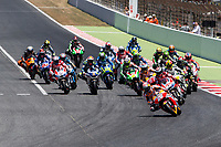 Dani Pedrosa of Spain and Repsol Honda Team, Jorge Lorenzo of Spain and Ducati Team, Andrea Dovizioso of Italy and Ducati Team ,Marc Marquez of Spain and Repsol Honda Team  Hector Barbera of Spain and Reale Avintia Racing Team  Valentino Rossi of Italy and Movistar Yamaha MotoGP during the race of  MotoGP of Catalunya at Circuit de Catalunya on June 11, 2017 in Montmelo, Spain.(ALTERPHOTOS/Rodrigo Jimenez)