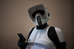 May 5, 2018 - Malaga, Spain - A member of the 501st Legion Spanish Garrison dressed as Stormtroopers from the movie saga Star Wars, poses during a charity parade in favour of bone marrow donation, organized by the Luis Olivares foundation. Hundreds of volunteers from the 501st Legion Spanish Garrison, an association that promote the hobby for the movie Star Wars and contribute in solidarity causes, took the main streets in downtown Málaga with the objective of encourage the bone marrow donation and the fight against cancer. (Credit Image: © Jesus Merida/SOPA Images via ZUMA Wire)