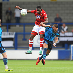 21/7/2018 - Mike Fondop battles for the ball with Shane Sutton of AFC Telfordduring the pre season friendly fixture between AFC Telford United and Wrexham at the New Bucks Head Stadium, Telford.<br /> <br /> Pic: Mike Sheridan/Newsquest NW<br /> MS173-2018
