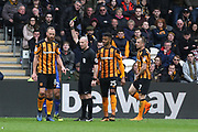 Hull City midfielder David Meyler (8) is shown a yellow card, booked  during the EFL Sky Bet Championship match between Hull City and Cardiff City at the KCOM Stadium, Kingston upon Hull, England on 28 April 2018. Picture by Mick Atkins.