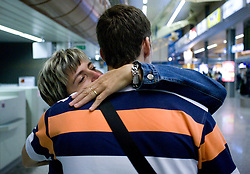 Basketball player Goran Dragic (with his mother) leaving his home in Slovenia and have a flight to Phoenix, USA, where he has signed a contract for Phoenix Suns Team, NBA, on September 27, 2008, in Airport Jozeta Pucnika, Brnik, Slovenia.  (Photo by Vid Ponikvar / Sportal Images)