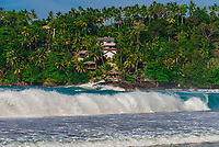 Waves pounding the shore, Mirissa Beach, south coast of Sri Lanka.