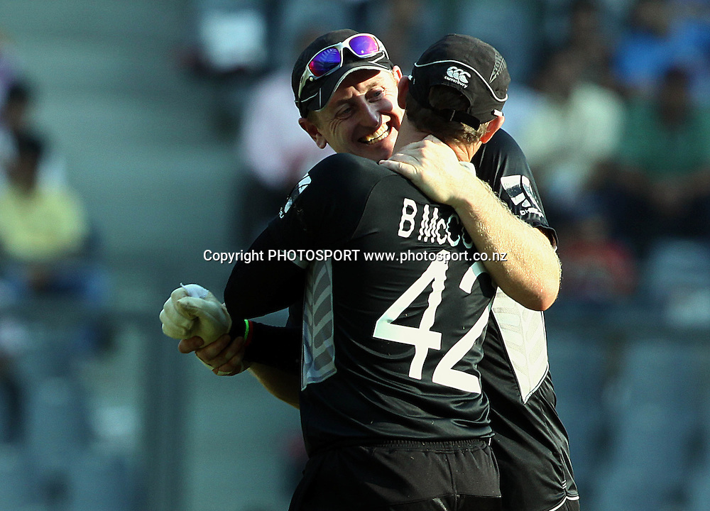 New Zealand players Scott Styris and Brendon McCullum During the ICC Wolrd Cup-2011 Canada vs New Zealand match Played at Wankhede Stadium, Mumbai