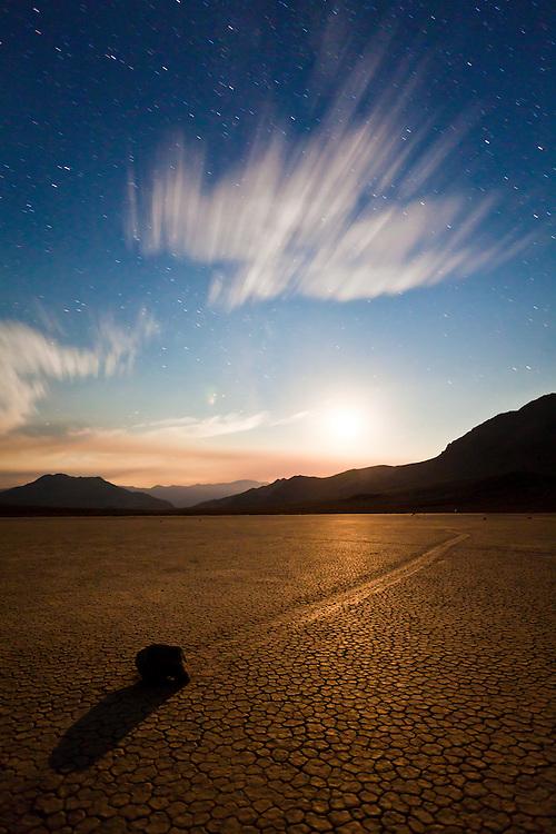 Moon setting behind the Racetrack Playa- Death Valley N.P.