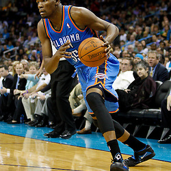 January 24,  2011; New Orleans, LA, USA; Oklahoma City Thunder small forward Kevin Durant (35) against the New Orleans Hornets during the fourth quarter at the New Orleans Arena. The Hornets defeated the Thunder 91-89. Mandatory Credit: Derick E. Hingle