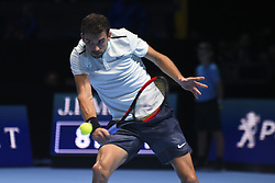 November 19, 2017 - London, England, United Kingdom - Bulgaria's Grigor Dimitrov returns to Belgium's David Goffin during their men's singles final match on day eight of the ATP World Tour Finals tennis tournament at the O2 Arena in London on November 19, 2017. (Credit Image: © Alberto Pezzali/NurPhoto via ZUMA Press)