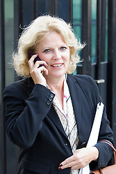 © Licensed to London News Pictures. 07/10/2013. London, UK. Conservative MP Anna Soubry, is seen leaving Downing Street in London today (07/10/2013) after being given the position of Parliamentary Under Secretary at the Ministry of Defence during a shuffle of ministers by the British Prime Minister David Cameron. Photo credit: Matt Cetti-Roberts/LNP