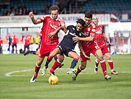Dundee&rsquo;s Faissal El Bakhtaoui tumbles under the challenges of Aberdeen&rsquo;s Andrew Considine and Anthony O'Connor but referee Steven McLean waved away Dundee's penalty claim - Dundee v Aberdeen in the Ladbrokes Scottish Premiership at Dens Park, Dundee. Photo: David Young<br /> <br />  - &copy; David Young - www.davidyoungphoto.co.uk - email: davidyoungphoto@gmail.com