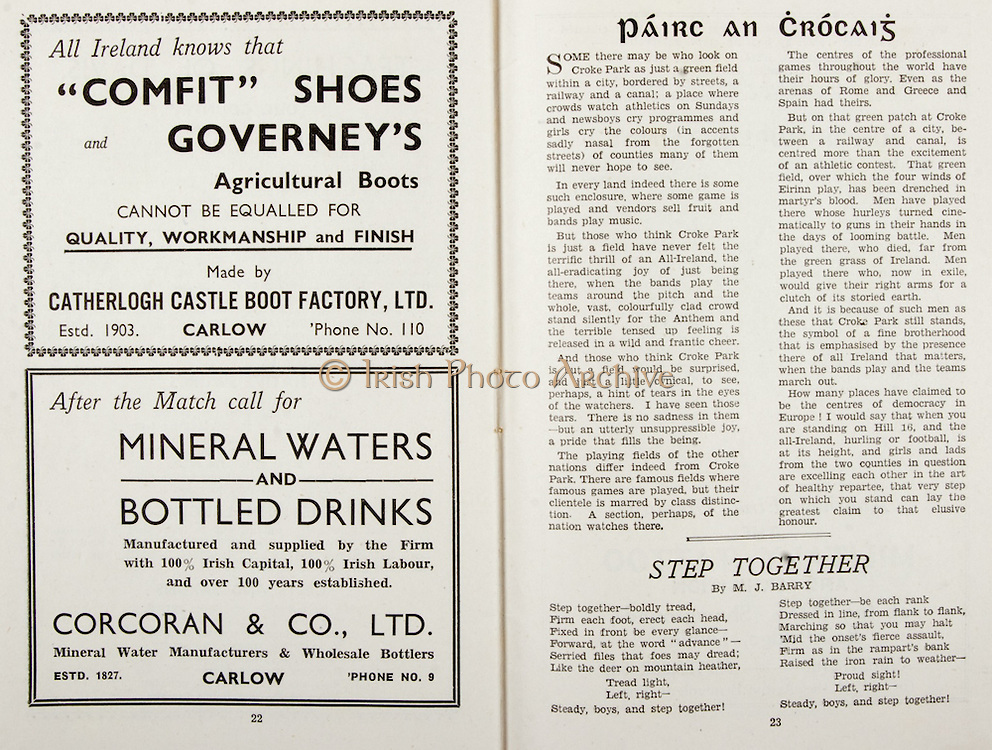 All Ireland Senior Hurling Championship Final,.Brochures,.02.09.1945, 09.02.1945, 2nd September 1945,.Tipperary 5-6, Kilkenny 3-6, .Minor Dublin v Tipperary, .Senior Tipperary v Kilkenny, .Croke Park, ..Advertisements, Comfit Shoes and Governey's Agricultural Boots Catherlogh Castle Boot Factory Ltd, Mineral Waters and Bottles Drinks Corcoran & Co. Ltd, ..Articles, Pairc An Crocaig, ..Poems, Step Together,