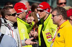 Jure Kosir, Andrej Jerman, Andrej Sporn and Tomaz Lovse  during 2nd Run of 8th Men's Giant Slalom - Pokal Vitranc 2012 of FIS Alpine Ski World Cup 2011/2012, on March 10, 2012 in Vitranc, Kranjska Gora, Slovenia.  (Photo By Vid Ponikvar / Sportida.com)