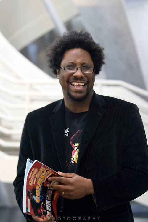 Comedian W. Kamau Bell doing a PSA for the San Francisco Public Library...Photo by Jason Doiy.4-17-09