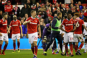 Nottingham Forest midfielder Ryan Yates celebrates after the final whistle after the EFL Sky Bet Championship match between Nottingham Forest and Derby County at the City Ground, Nottingham, England on 25 February 2019.