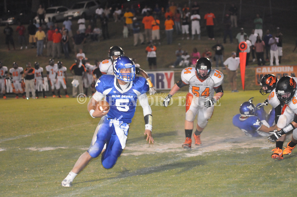 Water Valley's E.J. Bounds (5) vs. Calhoun City in Water Valley, Miss. on Friday, September 6, 2013. Water Valley won 42-6.