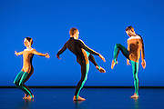 The Michael Clark Company perform the third part of Triple Bill, at the Barbican Theatre, London. Picture features: Oxana Panchenko, Daniel Squire & Benjamin Warbis.
