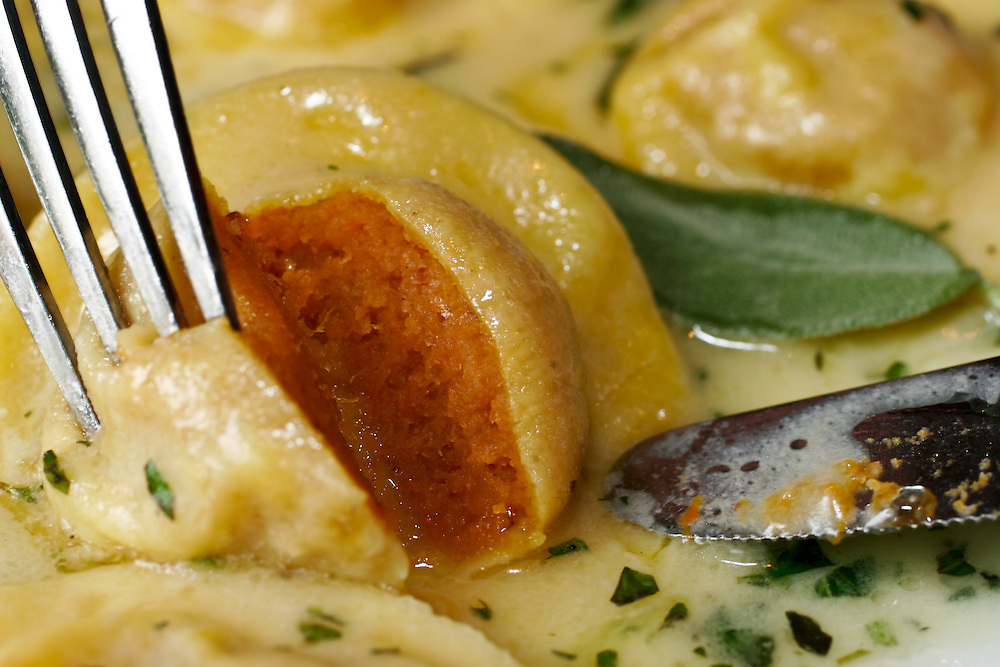 Pumpkin-stuffed ravioli.