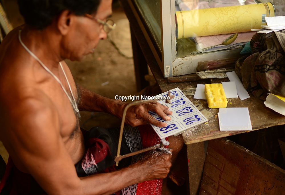 W.S. Pemananda of Chandima Plastic working in his studio, Weligama, Sri Lanka