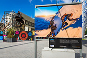 New Zealand Geographic display and the Christchurch Cathedral, Canterbury, South Island, New Zealand