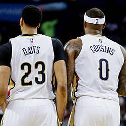 Mar 19, 2017; New Orleans, LA, USA; New Orleans Pelicans forward Anthony Davis (23) and forward DeMarcus Cousins (0) during the first quarter of a game against the Minnesota Timberwolves at the Smoothie King Center. Mandatory Credit: Derick E. Hingle-USA TODAY Sports