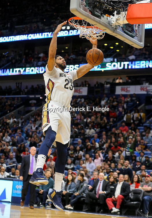 Mar 13, 2018; New Orleans, LA, USA; New Orleans Pelicans forward Anthony Davis (23) dunks against the Charlotte Hornets during the second half of a game at the Smoothie King Center. The Pelicans defeated the Hornets 119-115.  Mandatory Credit: Derick E. Hingle-USA TODAY Sports
