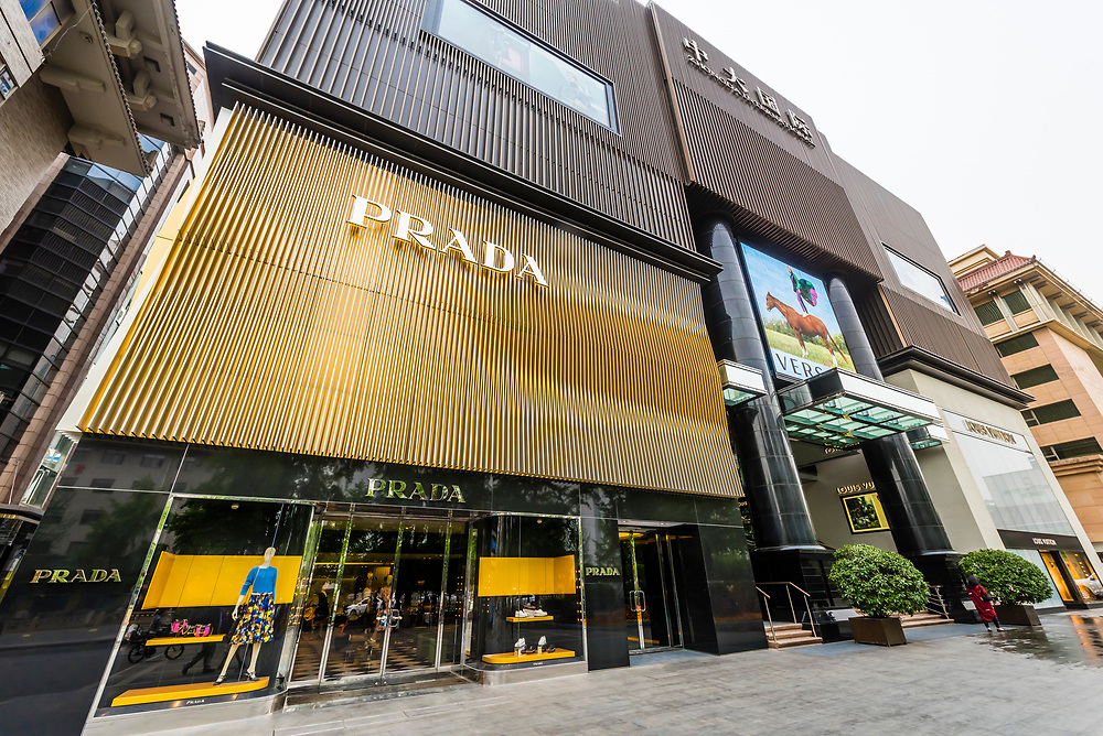 The Zhong Da International Shopping Center on South Street, Xian, China. The mall features stores of well known international luxury brands such as Prada, Louis Vuitton, Georgio Armani, Tiffany and Versace.