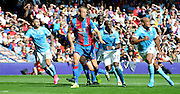 Brede Hangeland leads the attack for the freekick during the Barclays Premier League match between Crystal Palace and Manchester City at Selhurst Park, London, England on 12 September 2015. Photo by Michael Hulf.