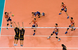 Vid Jakopin, Dejan Vincic, Daniel Lewis, Alen Pajenk, Andej Flajs and Alen Sket of ACH vs Bartosz Kurek and Daniel Plinski of Belchatow at  match for 3rd place of CEV Indesit Champions League FINAL FOUR tournament between PGE Skra Belchatow, POL and ACH Volley Bled, SLO on May 2, 2010, at Arena Atlas, Lodz, Poland. Belchatow defeated ACH 3-1. (Photo by Vid Ponikvar / Sportida)