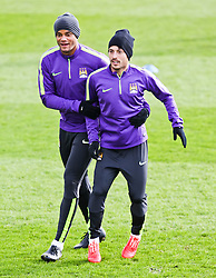 Vincent Kompany & David Silva of Manchester City during the training session at The Etihad Campus ahead of the UEFA Champions League clash with FC Barcelona - Photo mandatory by-line: Matt McNulty/JMP - Mobile: 07966 386802 - 23/02/2015 - SPORT - Football - Manchester - Etihad Stadium