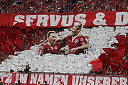 Bayern Munich's French midfielder Franck RIBERY and Arjen ROBBEN are honored by the fans before the German First division Bundesliga football match - Fans hold up effigies of Bayern Munich's French midfielder Franck Ribery and Bayern Munich's Dutch midfielder Arjen Robben underneath a banner reading &quot;Servus&quot; - <br /> MUNICH, 18. MAY 2019,  Fc BAYERN vs Eintracht FRANKFURT, 5:1 - Bundesliga Football Match, <br /> FcBayern Muenchen vs Eintracht FRANKFURT Bundesliga match at Allianz Arena on 18.05.2019, DFL REGULATIONS PROHIBIT ANY USE OF PHOTOGRAPHS AS IMAGE SEQUENCES AND/OR QUASI-VIDEO - fee liable image, <br /> copyright &copy; ATP / Arthur THILL